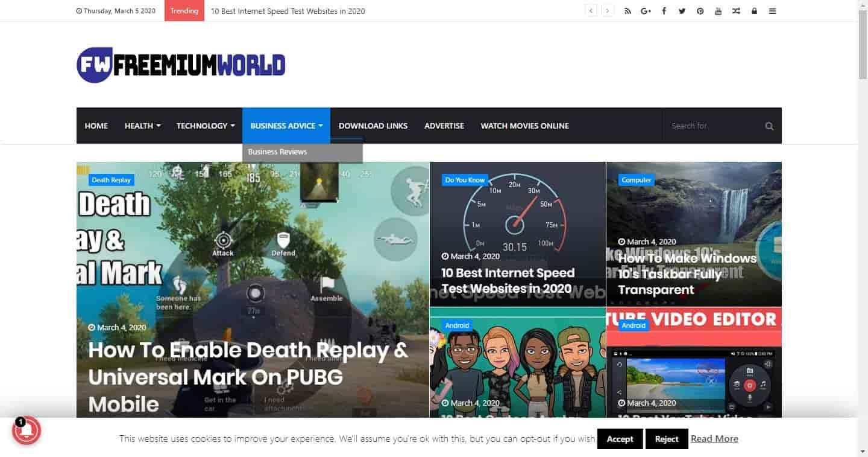 Freemium world Blogging website